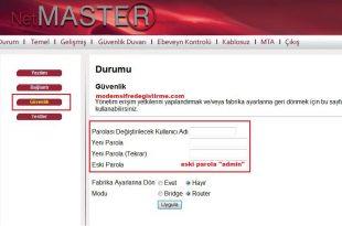 Netmaster - Uydunet Modem Wifi Şifre Değiştirme 1