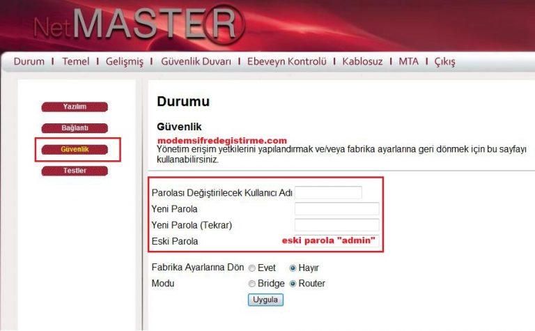 Netmaster – Uydunet Modem Wifi Şifre Değiştirme