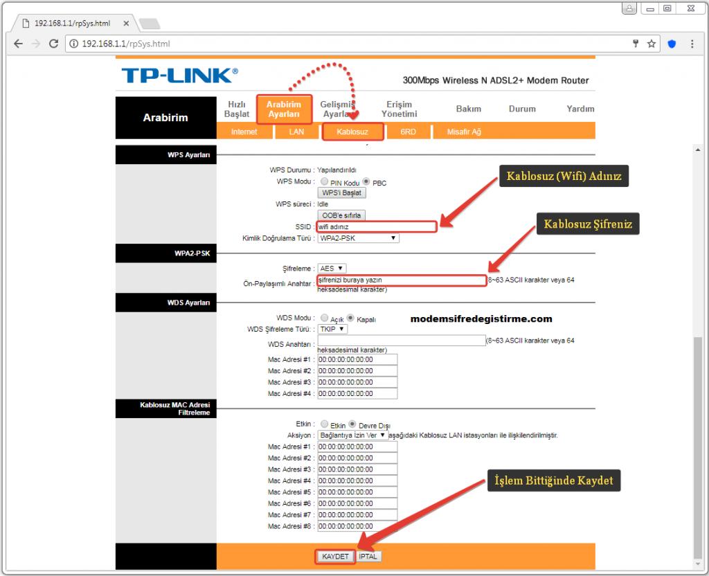 Tp Link Modem Wifi Şifresi Değiştirme 2021
