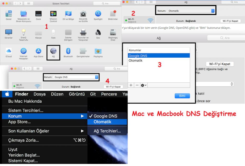 MAC ve Macbook DNS Değiştirme 2021 2