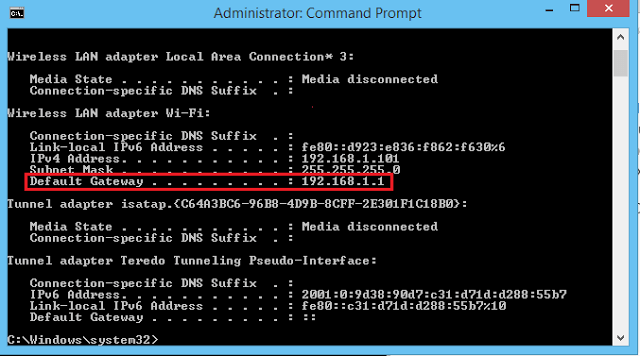 Default Gateway 192.168.1.1
