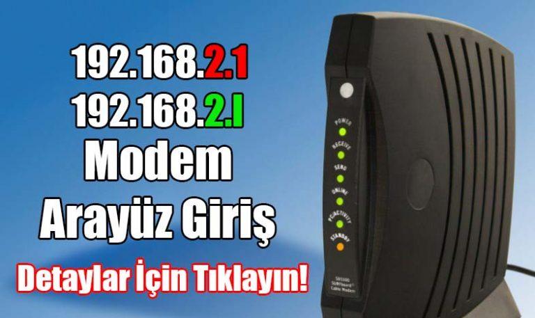 192.168.2.1 modem IP adresi arayüz